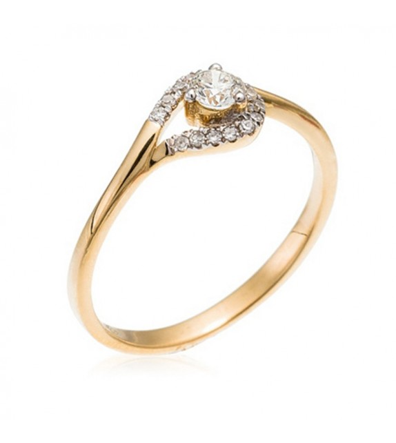 Bague Attrape Coeur Or Jaune et Diamant 0,21ct