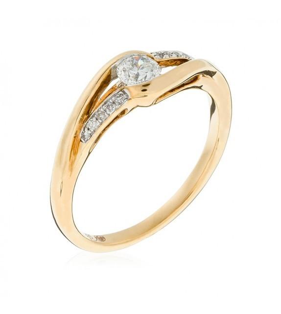 Bague Accroche cœur Or Jaune et Diamant 0,24ct