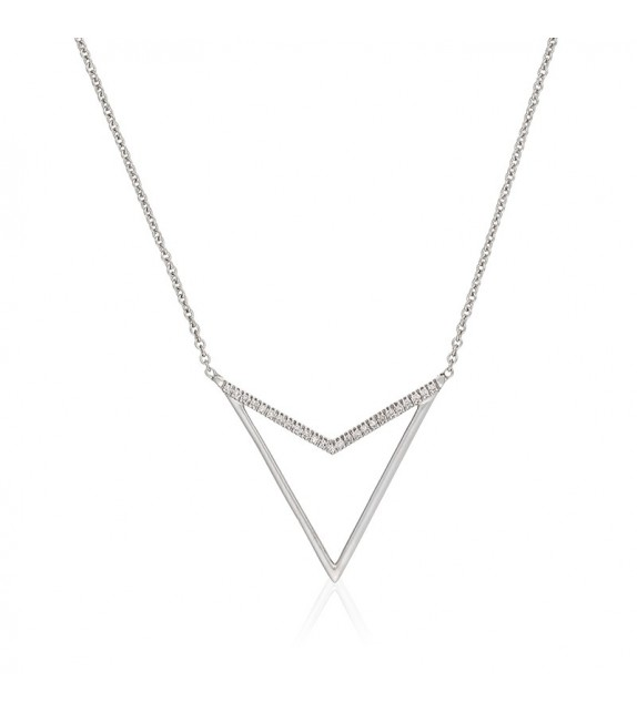 CollierTriangle dor Or Blanc et Diamant 0,05ct