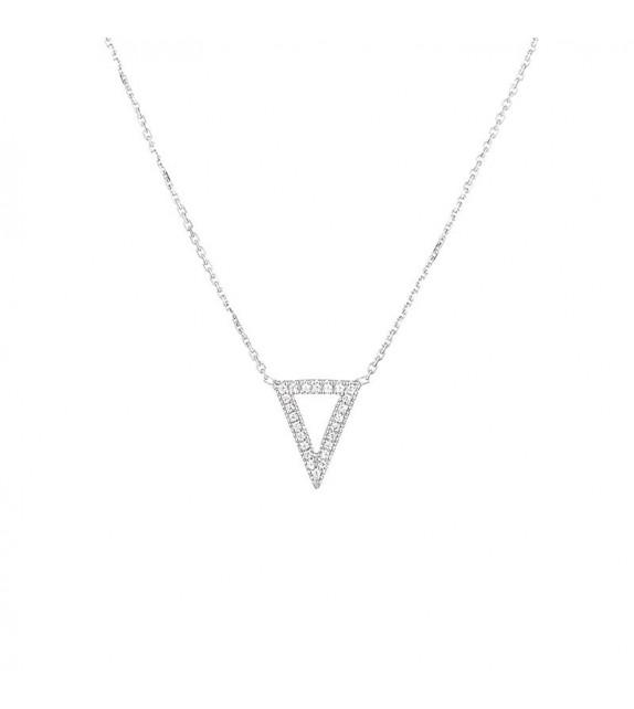 Collier Triangle Or Blanc et Diamant 0,08ct