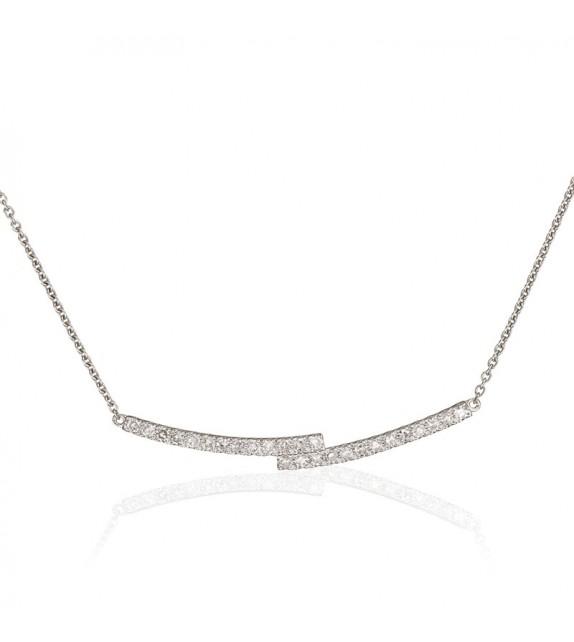 Collier Jolie croisée Or Blanc et Diamant 0,18ct