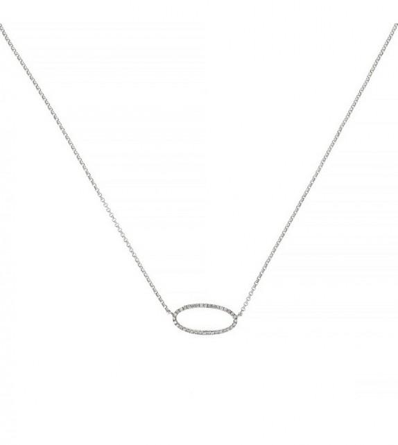 Collier Expression Or Blanc et Diamant 0,1ct