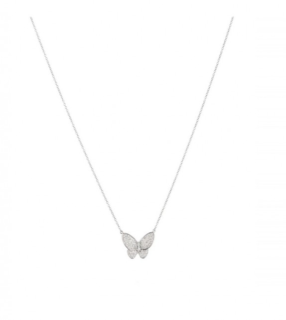 Collier My beautiful butterfly Or Blanc et Diamant 0,39ct Topaze blanche 0,8ct