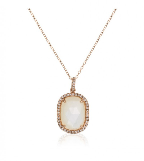 Collier Angel Or Rose et Diamant 0,18ct Nacre 3,89ct
