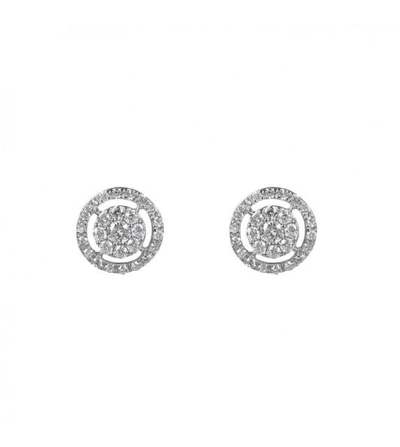 Boucles doreilles Forteresse ronde Or Blanc et Diamant 0,27ct