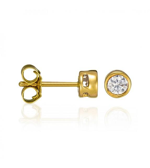 Boucles doreilles Puce éclat Or Jaune et Diamant 0,25ct