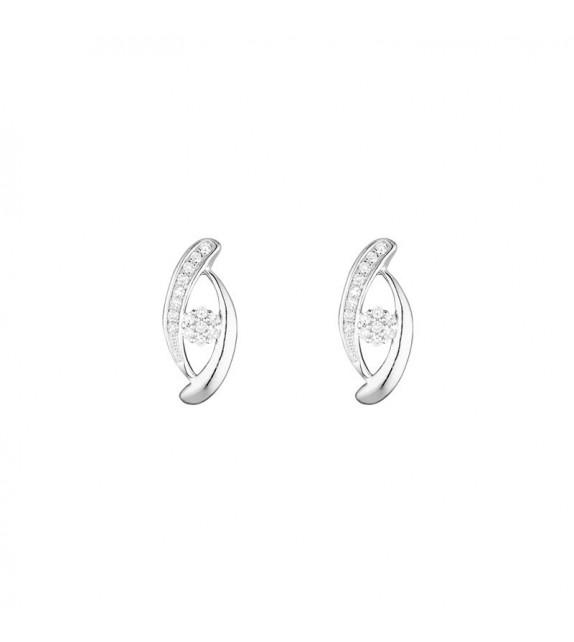 Boucles doreilles Osaka Or Blanc et Diamant 0,1ct