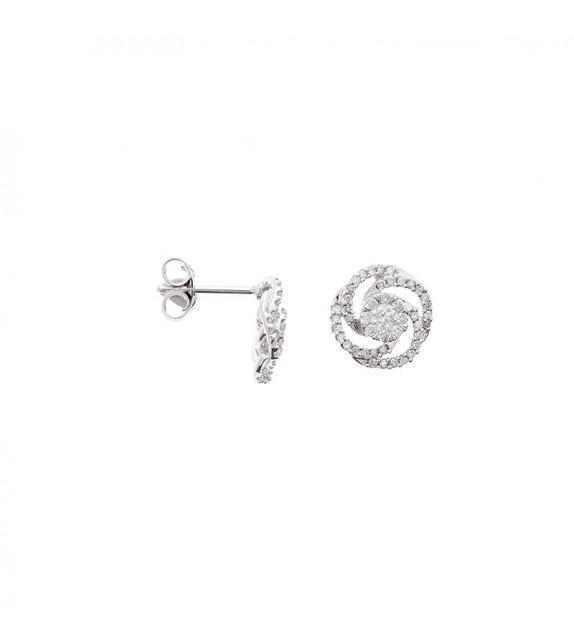 Boucles doreilles Fleur idéale Or Blanc et Diamant 0,52ct
