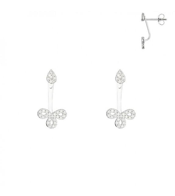 Boucles doreilles Balancier Floréale Or Blanc et Diamant 0,27ct