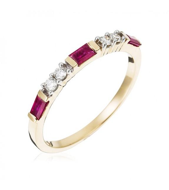Bague Alliance Eclat Rubis Or Jaune et Diamant 0,11ct Rubis 0,4ct