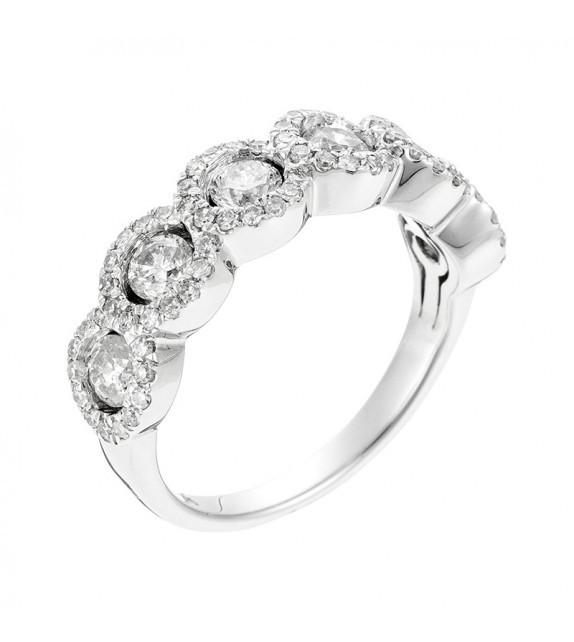 Bague Couronne Or Blanc et Diamant 1,31ct