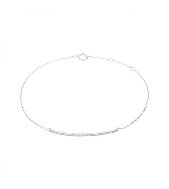 Bracelet Barette lovely Or Blanc et Diamant 0,08ct