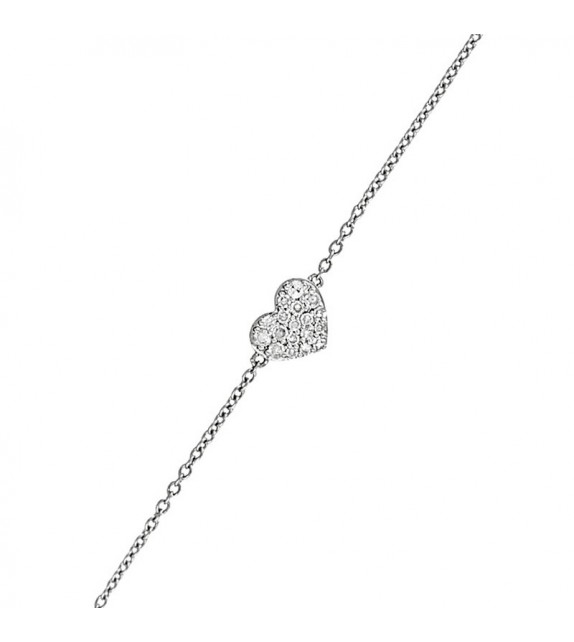 Bracelet Coeur Diams passion Or Blanc et Diamant 0,08ct