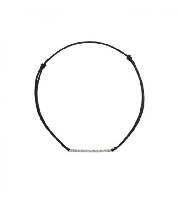 Bracelet sur cordon Slim Or Blanc et Diamant 0,11ct