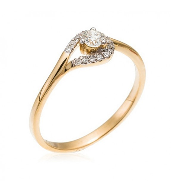 Bague Attrape Coeur Or Jaune et Diamant 0,21ct